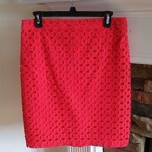 Kenar Coral eyelet pencil skirt 6